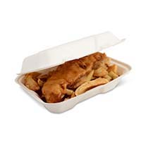 Sugarcane Hinged Food Box 9x6 1357