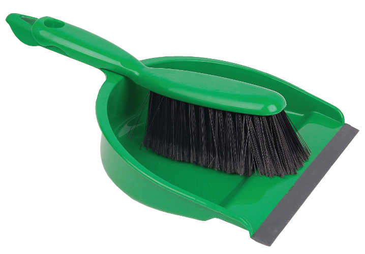 Open Dustpan & Brush Green