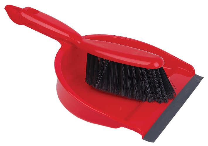 Open Dustpan & Brush Red