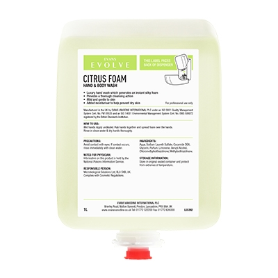 Evans Evolve Citrus Foam Cartridge (1ltr)