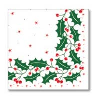 Napkin 40/2Ply White Traditional Holly
